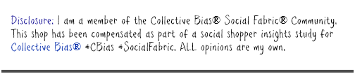 Disclosure: I am a member of the Collective Bias® Social Fabric® Community.  This shop has been compensated as part of a social shopper insights study for Collective Bias® #CBias #SocialFabric. ALL opinions are my own.