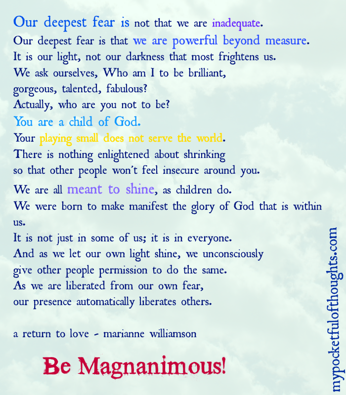 be mananimous