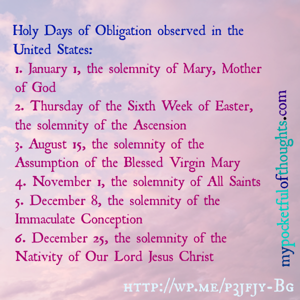 holy days of obligation observed in the US