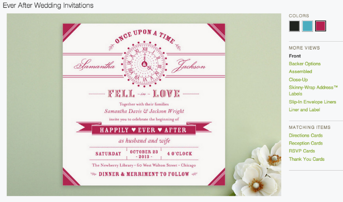 Screenshot of the Ever After Wedding Invitation on Minted.com
