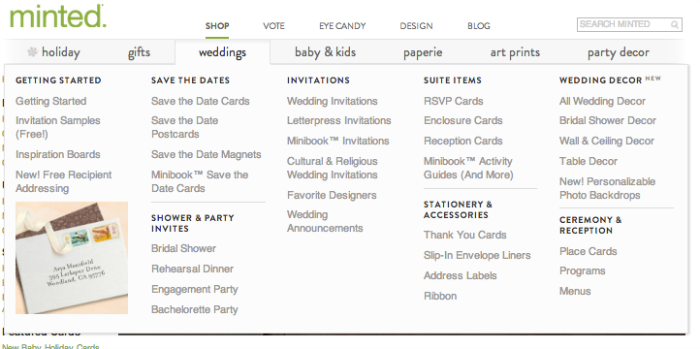 Minted.com had a great selection of subcategories