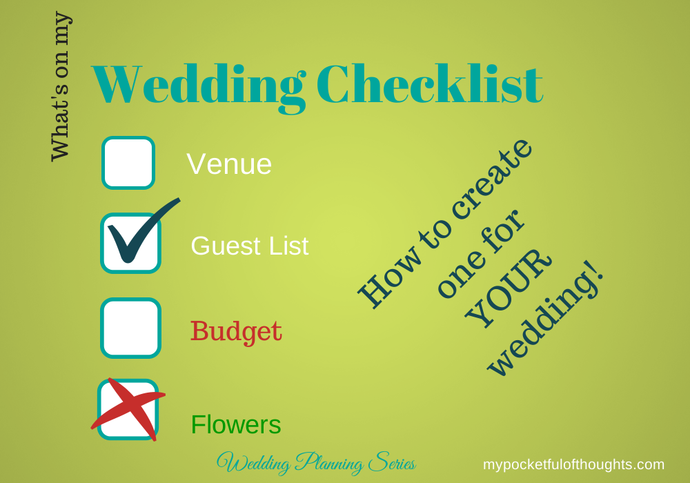 Is there a wedding checklist? #wedding planning ... Wedding Planning Series on My Pocketful of Thoughts