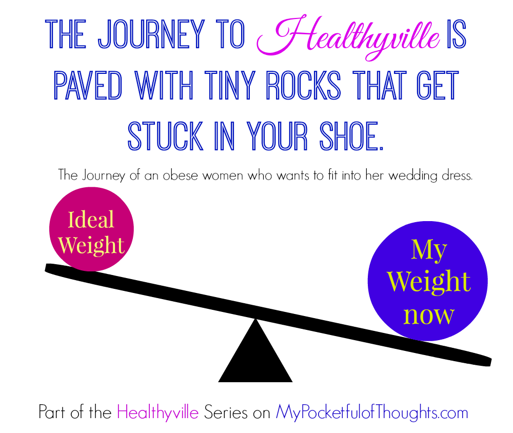 The Journey to Healthyville is paved with tiny rocks that get stuck in your shoe. The Journey of an obese women who wants to fit into her wedding dress. Part of the Healthyville Series on MyPocketfulOfThoughts.com