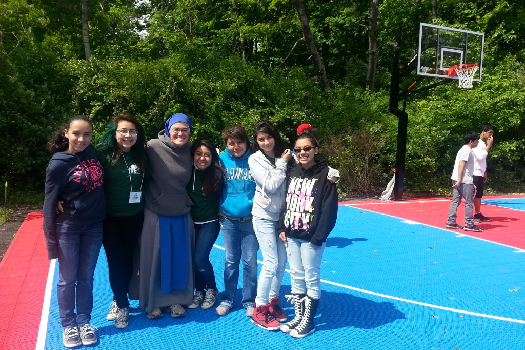 Mother Blessed Sacrament with the Girls at Youth Festival 2013
