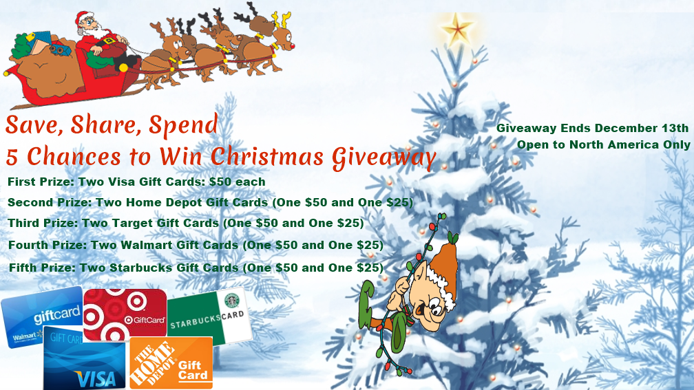 Christmas Giveaway, 5 Chances to win; enter between November 29th to December 13th