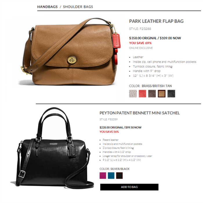 coach factory handbags http://www.coachfactory.com ; PEYTON PATENT BENNETT MINI SATCHEL and the PARK LEATHER FLAP BAG