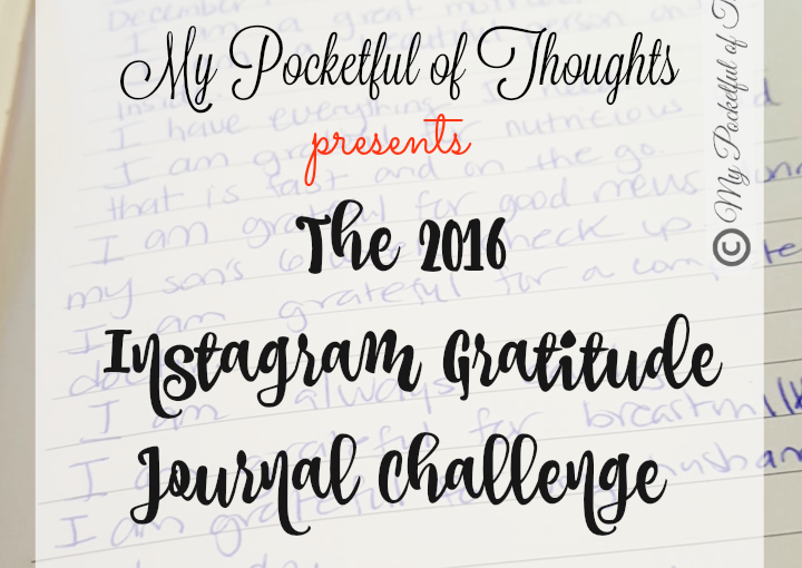 the gratitude journal challenge on My Pocketful of THoughts by Arelis CIntron Dias